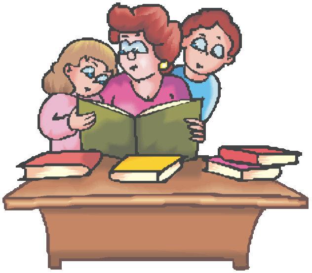 children at desk of teacher
